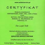certyfikat wypożyczalnia nart